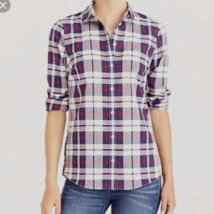 J. Crew Boy Fit Christmas Plaid Long Sleeve Shirt